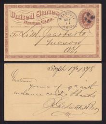 UX3 UPSS# S2 1c Postal Card, 1878 Prescott, Arizona Territrorial Usage
