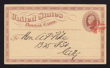 UX3 UPSS# S2 1c Postal Card, Scarce RED Cancel, Drop Rate, Boston MA