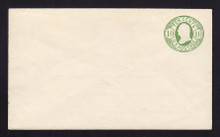 U40 UPSS # 92 10c Green on White, Mint Entire, Hinges on back