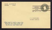 U421d UPSS# 2086-29 1c Green on Amber,  Used Precanceled Entire