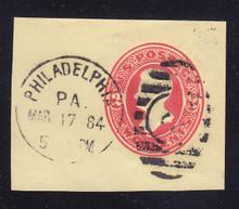 U154 2c Vermillion on Amber, die 7, Used Cut Square, 55 x 42