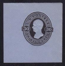 U208 30c Black on Blue, Mint Full Corner, 50 x 50