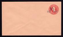 U503, UPSS #3179-22 1 1/2c on 2c Carmine on Oriental Buff, die 5, Mint Entire, Stuck Flap
