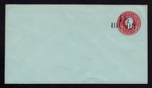 U504a, UPSS #3181-27 1 1/2c on 2c Carmine on Blue, die 7, Mint Entire
