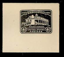 U527 4c Mount Vernon, Black, Mint Full Corner