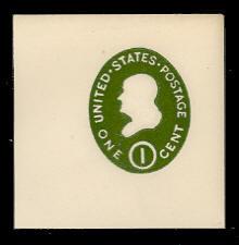 U532 1c Franklin Green on White, die 1, Mint Full Corner
