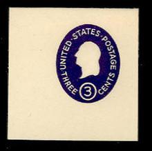 U534a 3c Washington, Dark Violet, die 1, Mint Full Corner