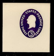 U534b 3c Washington, Dark Violet, die 2, Mint Full Corner