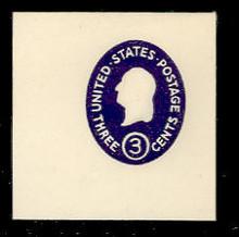 U534d 3c Washington, Dark Violet, die 5, Mint Full Corner