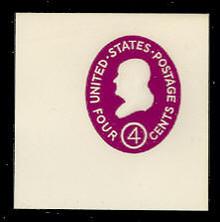 U536b 4c Franklin, Red Violet, die 3, Mint Full Corner
