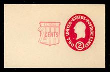 U538 2c + 2c Washington, Carmine, die 1, Mint Full Corner