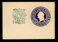 U539a 3c + 1c Washington, Purple, die 7, Mint Full Corner