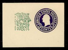 U539b 3c + 1c Washington, Purple, die 9, Mint Full Corner