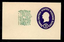 U540c 3c + 1c Washington, Dark Violet, die 5, Mint Full Corner