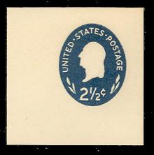 U542 2 1/2c Washington, Dull Blue, Mint Full Corner