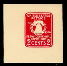 U522 2c Sesquicentennial, Carmine, die 1 , Mint Full Corner