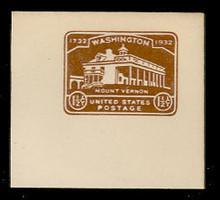 U524 1 1/2c Mount Vernon, Chocolate, Mint Full Corner