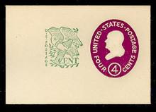 U545 4c + 1c Franklin, Red Violet, type 1, Mint Full Corner