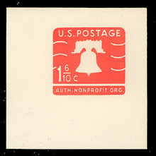 U548A 1 6/10c Orange Liberty Bell, Mint Full Corner