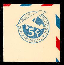 UC1 5c Blue, die 1, Mint Full Corner