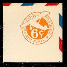 UC4 6c Orange, die 2b, Mint Full Corner