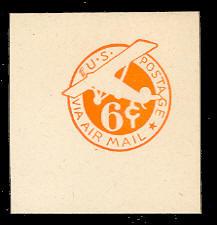 UC5 6c Orange, die 2c, Mint Full Corner