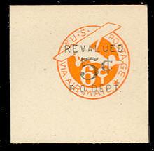 UC12 5c on 6c Orange, die 2c, Mint Full Corner