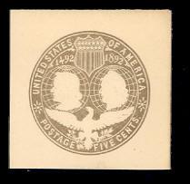 U350a 5c Slate (error of color) on White, Mint Cut Square, 46 x 44
