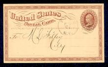 UX1 UPSS# S1a 1c Liberty Head, Large Watermark USED Postal Card, Inverted Watermark