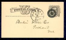 "UX5 UPSS# S4ac 1c Liberty Head, ""Write the addr.... Used Postal Card"