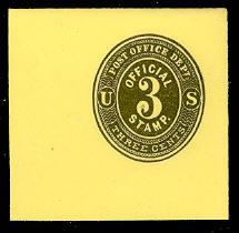 UO7 3c Black on Lemon Mint Full Corner