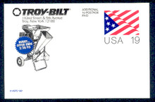 UX153 UPSS# S166 19c Stylized Flag Unused Postal Card, Troy-Bilt Revalue, Mulcher