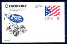UX153 UPSS# S166 19c Stylized Flag Unused Postal Card, Troy-Bilt Revalue, Tiller