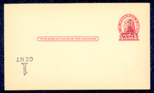 """UX33e UPSS# S45-28g, New York """"Large Cent"""" Plus Inverted Surcharge, Mint Postal Card"""