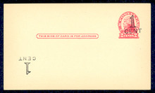 "UX33e UPSS# S45-28gg, New York ""Large Cent"" Plus Inverted Surcharge, Mint Postal Card"