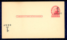 "UX33e UPSS# S45-29g, New York ""Small Cent"" Plus Inverted Surcharge, Mint Postal Card"