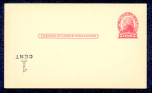 "UX33f UPSS# S45-29f, New York ""Small Cent"" Inverted Surcharge, Mint Postal Card"