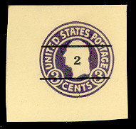 U476 2c on 3c Dark Violet on Amber, die 1, Mint Cut Square, 43 x 42