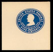 U393 5c Blue on White, Mint Full Corner