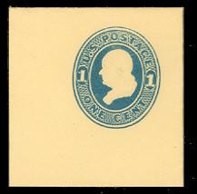 U114 1c Light Blue on Amber, die 2, Mint Full Corner, 50 x 50
