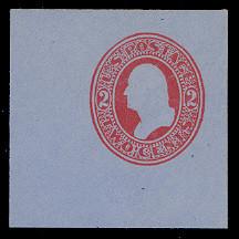U229 2c Red on Blue, Mint Full Corner, 50 x 50