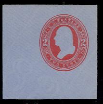 U233 2c Red on Blue, Mint Full Corner, 50 x 50