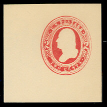 U236 2c Red on White, Mint Cut Square, 47 x 47