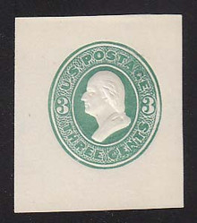 U163 3c Green on White, die 2, Mint Cut Square