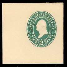 U311 2c Green on White, die 2, Mint Full Corner