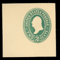 U311 2c Green on White, die 2, Mint Cut Square