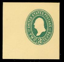 U312 2c Green on Amber, die 2, Mint Cut Square