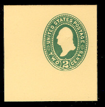 U312 2c Green on Amber, die 2, Mint Full Corner
