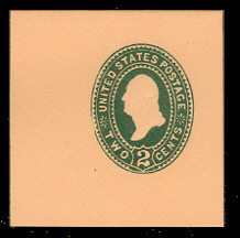 U313 2c Green on Oriental Buff, die 2, Mint Full Corner