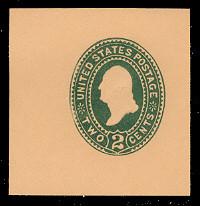 U313 2c Green on Oriental Buff, die 2, Mint Cut Square
